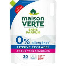 MAISON VERTE Recharge lessive liquide écologique peaux très sensibles 30 lavages 1,9l