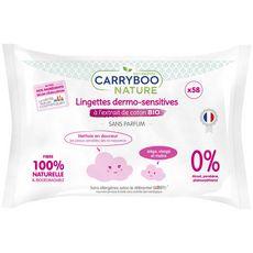 Carryboo Lingettes bébé dermo-sensitives à l'extrait de coton bio x58