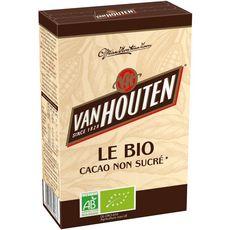 VAN HOUTEN Chocolat en poudre bio 100% pur cacao non sucré 125g