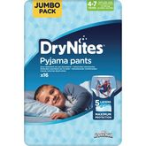 Huggies Drynites garçon 4-7 ans culottes pipi au lit x16