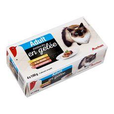 AUCHAN Adult boîtes pâtée viandes pour chat 4x100g