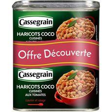 CASSEGRAIN Haricots coco cuisinés aux  tomates laurier et sauge 2x500g