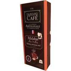 FAUBOURG CAFE Capsules de café Malabar des indes 100% arabica compatibles Nespresso 10 capsules 53g
