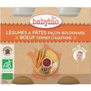 Babybio petit pot bio dès 6 mois légumes et pâtes bolognaise 2x200g