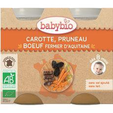 Babybio carotte pruneau boeuf 2x200g dès 8 mois
