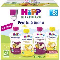 HIPP Hipp Gourde dessert aux fruits bio 2 variétés dès 8 mois 8x90ml 8x90ml