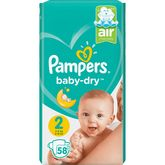 Pampers couches baby dry géant 4/8 kg x58 taille 2