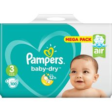 Pampers Baby-dry mega pack couches taille 3 (5-9kg) x100
