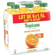 Tropicana jus d'orange sans pulpe 6x1.5l dont 1l offert