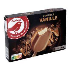 AUCHAN Batônnet glacé à la vanille sauce caramel et chocolat au lait 4 pièces 340g