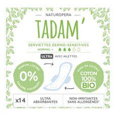 TADAM Tadam Serviettes hygiéniques avec ailettes 100% coton bio normal+ x14 14 serviettes