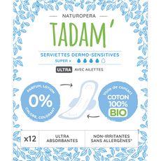 Tadam Serviettes hygiéniques avec ailettes 100% coton bio super+ x12