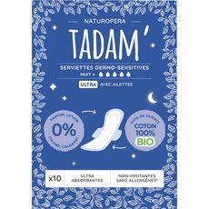 Tadam Serviettes hygiéniques nuit avec ailettes 100% coton bio ultra x10