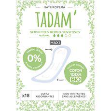 TADAM Tadam Serviettes hygiéniques sans ailettes 100% coton bio normal x18 18 serviettes