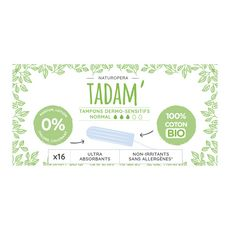 Tadam Tampons en coton bio sans applicateur ultra-absorbant normal x16
