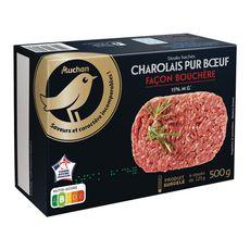 AUCHAN GOURMET Steaks hachés façon bouchère 15% MG Charolais pur boeuf 4 pièces 500g