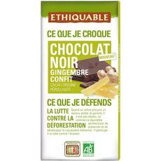 Ethiquable Tablette de chocolat noir bio et gingembre confit 100g