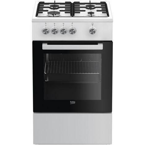 BEKO Cuisinière à gaz FSG52000DWC, 50 cm, 4 foyers à gaz, Four catalyse multifonction