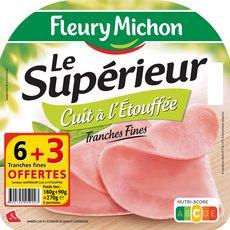 FLEURY MICHON Le Supérieur Jambon cuit à l'étouffée tranches 6 tranches+3offertes 270g
