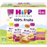 HiPP Hipp Gourde dessert aux fruits bio 4 variétés dès 4 mois 8x90g