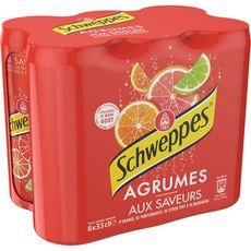 SCHWEPPES Boisson gazeuse saveur 4 agrumes boîtes slim 6x33cl