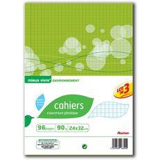 Auchan cahier piqûre 96pages 90g 24x32cm x3