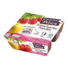 CHARLES ET ALICE Spécialité pomme framboise sans sucres ajoutés 4x100g