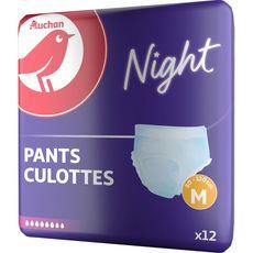 AUCHAN Culottes adultes pour la nuit taille M 80 - 130 cm 12 culottes