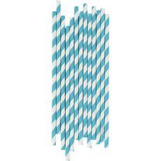 pailles bleu en papier x25