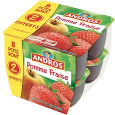 Andros compote pomme fraise x8 dont 2offerts 800g