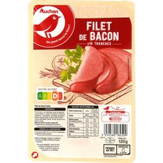 AUCHAN Filet de Bacon fumé 10 tranches 120g