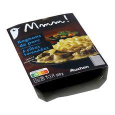 AUCHAN MMM! Rognons de porc et pâtes torsadées sauce moutarde 1 portion 300g