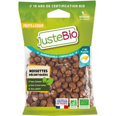 Juste Bio noisettes bio décortiquées 100g