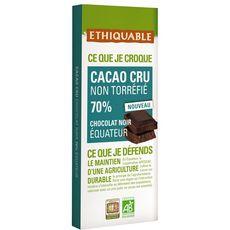 Ethiquable Tablette de chocolat noir bio d'Equateur non toerréfié 70% 100g