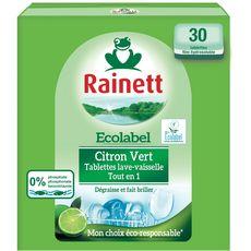 Rainett Tablettes lave-vaisselle écologique au citron vert x30