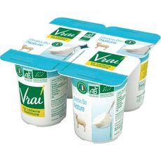 VRAI Yaourt nature bio au lait de brebis 4x120g