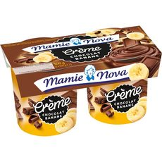 MAMIE NOVA Crème dessert au chocolat et à la banane 2x150g