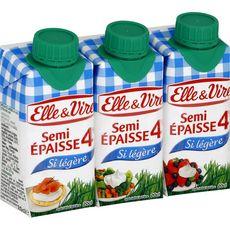 ELLE & VIRE Crème semi-épaisse légère 4%MG UHT 3x20cl