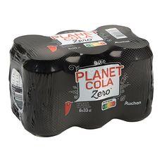AUCHAN Boisson gazeuse Planet cola zéro sucre boîtes 6x33cl