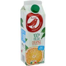 AUCHAN Pur jus d'orange sans pulpe brique 1l