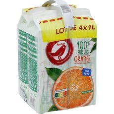 AUCHAN Pur jus d'orange sans pulpe 4x1l