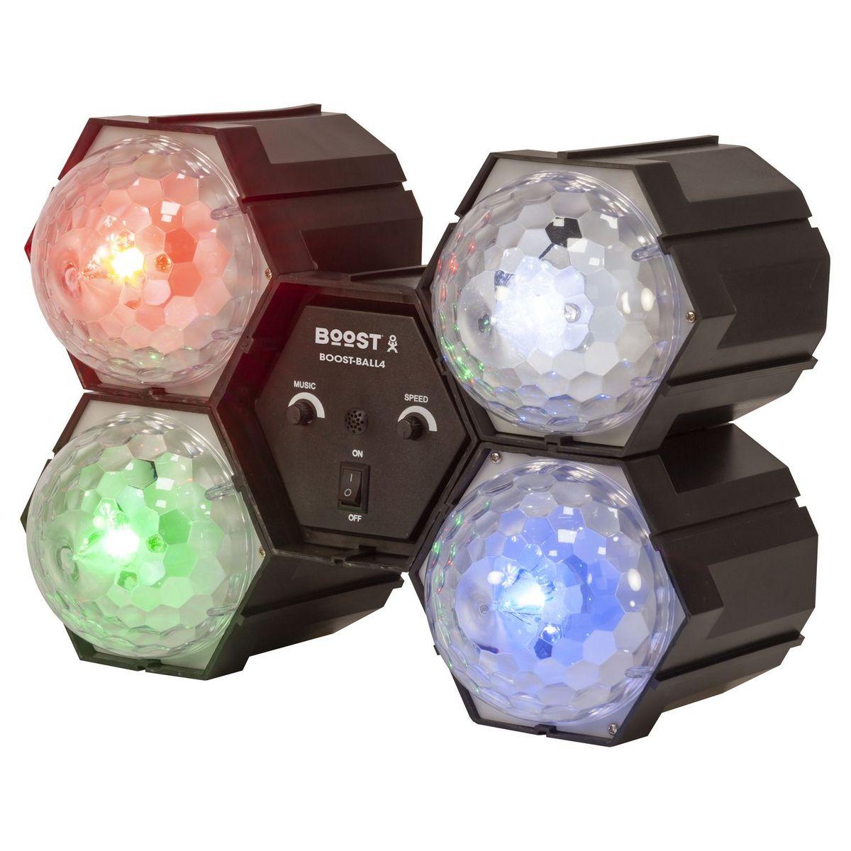 Séquenceur de lumière avec 4 Astro Ball à LED Blanc Bleu Vert Rouge - Noir