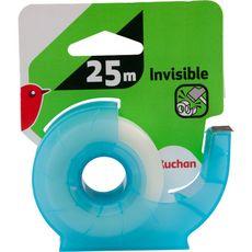 AUCHAN Auchan Rouleau adhésif invisible + dévidoir 19mmx25m 2 pièces
