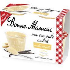 BONNE MAMAN Bonne Maman semoule sur lit vanille 4x100g offre découverte