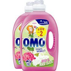 OMO Omo Lessive liquide rose et lilas blanc 2x40 lavages 2x2l 2x40 lavages 2x2l