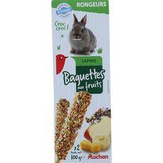 AUCHAN Baguettes aux fruits pour lapins nains 2x100g