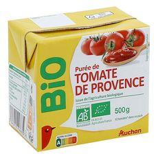 AUCHAN BIO Purée de tomates de Provence, en brique 500g