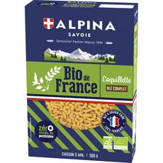 ALPINA Coquillettes bio au blé complet, sans résidu de pesticides 500g