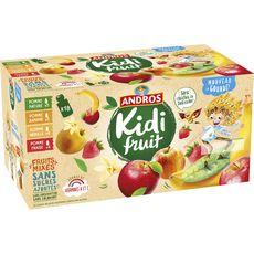 ANDROS Kidifruit gourdes pomme fraise banane vanille sans sucres ajoutés 18x85g