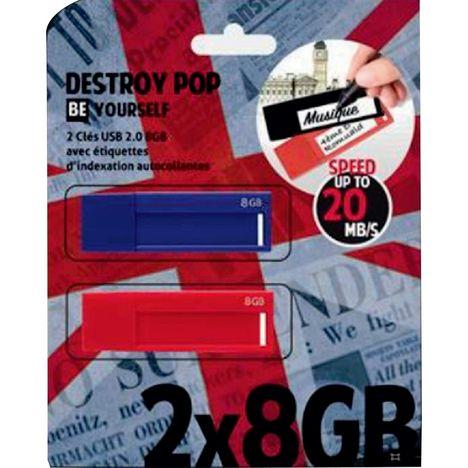 DESTROY POP Lot de 2 Clé USB 2.0 8 Go Pack 2 étiquettes Bleu & Rouge